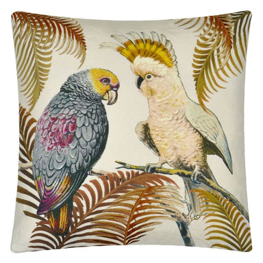 Parrot and Palm Parchment Decorative Pillow