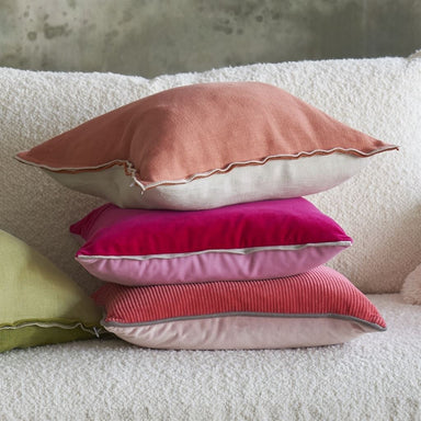 Brera Lino Coral & Putty Decorative Pillow shown with Varese | Designers Guild