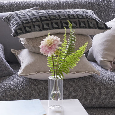 Designers Guild Monserrate Graphite Throw Pillow shown on Sofa