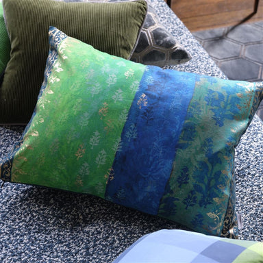 View on Sofa of Designers Guild Kasavu Emerald Decorative Pillow
