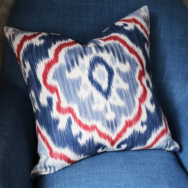 Saphia Steel Decorative Pillow Shown in Blue Club Chair