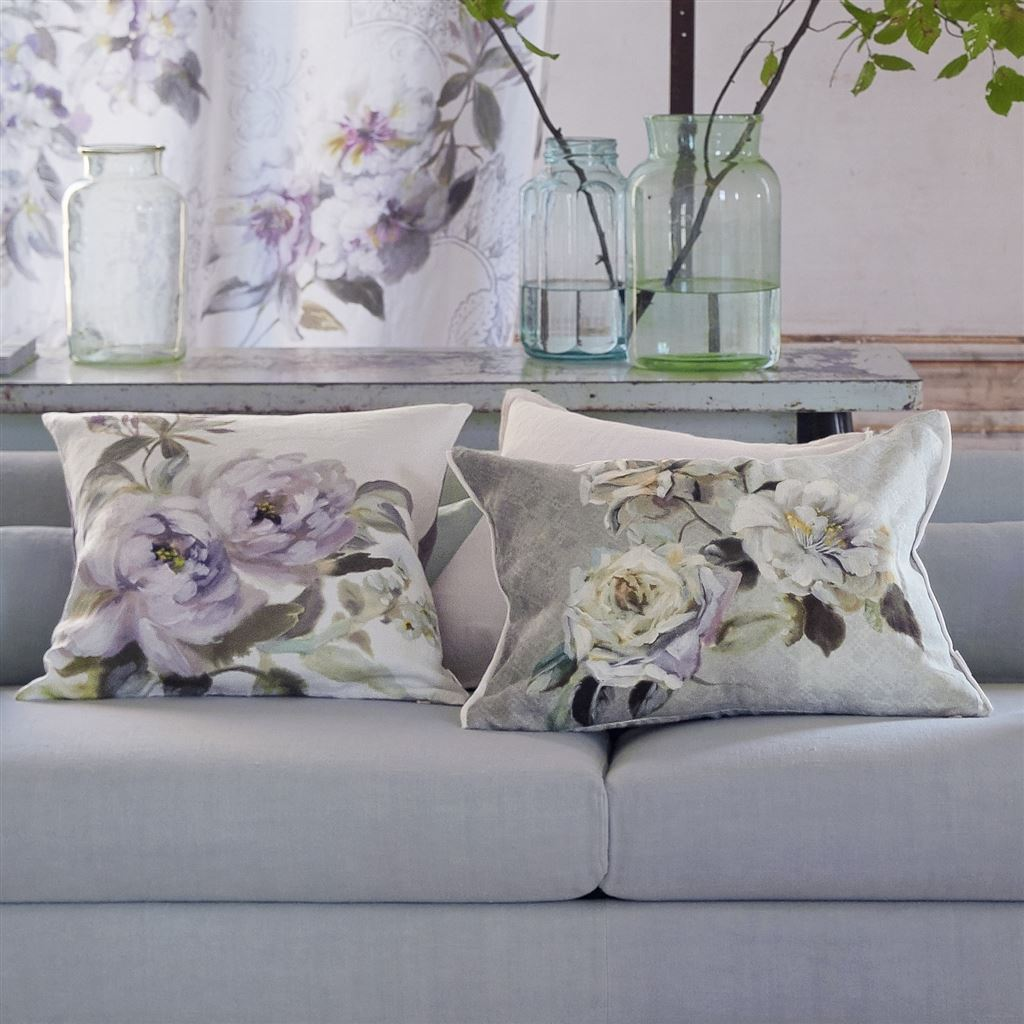 Verronet Zinc Cushion - Designers Guild - Shown on Sofa