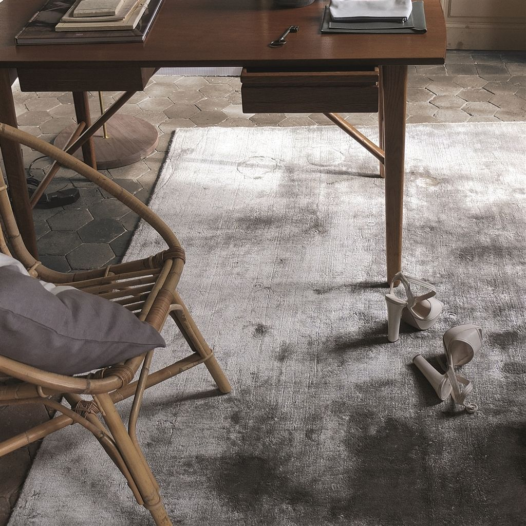 Designers Guild Everson Slate Rug in Living Room