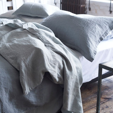 Designers Guild Biella Pale Grey and Dove Bed Linens Detail | Fig Linens