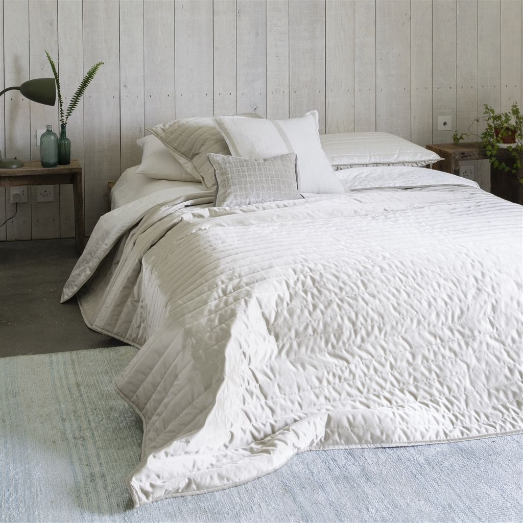Tiber Chalk and Linen Quilts and Shams - Designers Guild