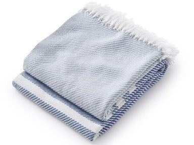 Fig Linens - Allagash Shore, Denim & Baja Blue Throw by Brahms Mount