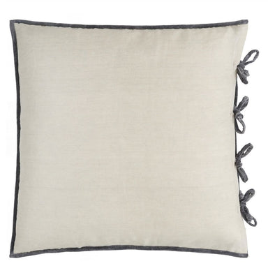 Designers Guild Sevanti Graphite Quilted Velvet Pillow | Reverse to Linen