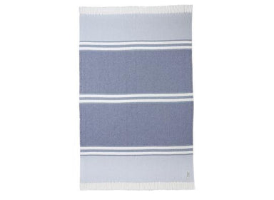 Fig Linens - Allagash Shore, Denim & Baja Blue Cotton Throw by Brahms Mount