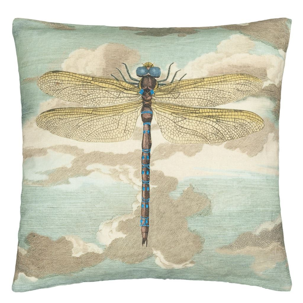 Dragonfly over Clouds Sky Blue  Decorative Pillow