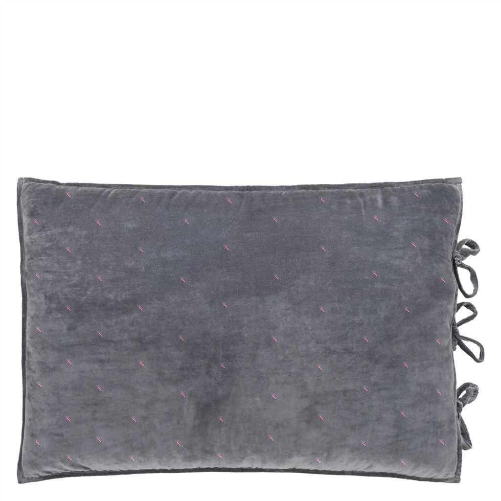 Designers Guild Sevanti Graphite Standard Quilted Cushion With Hand Stitching