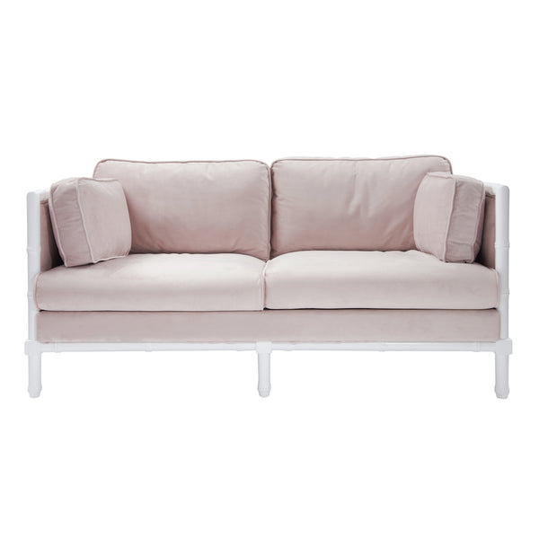 Worlds Away Ainsley Blush Sofa on White Bamboo Laquer - Front View | Fig Linens