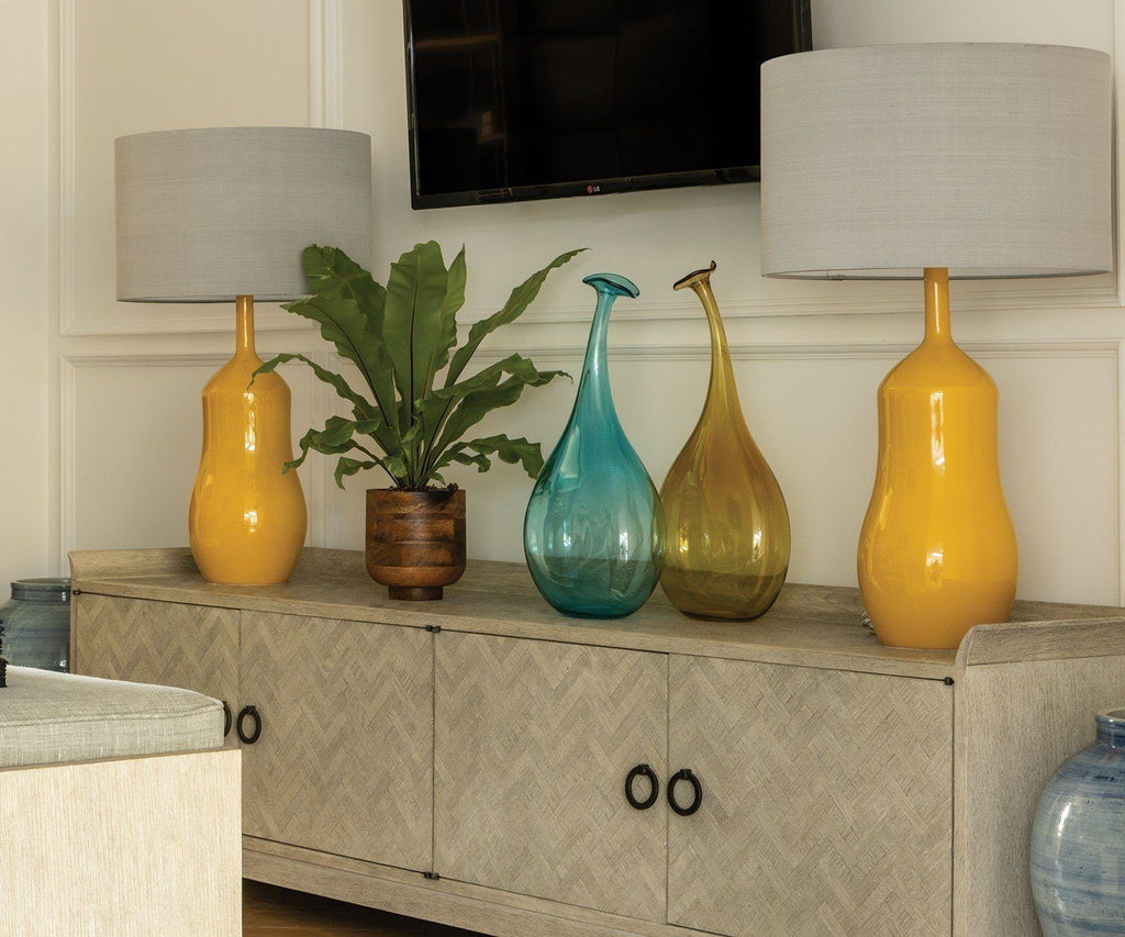 Appia Ochre Table Lamps | William Yeoward Lifestyle Image at Fig Linens