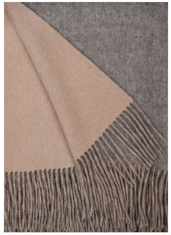 Alashan Cashmere Ash and Bisque Wool / Cashmere Double-Faced Throw