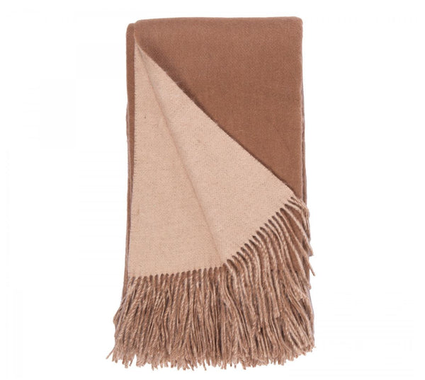 Alashan Cashmere Camel and Apricot Wool / Cashmere Double-Faced Throw