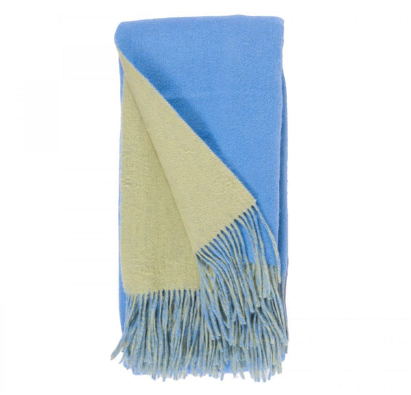 Alashan Cashmere Carolina Blue and Peridot Wool / Cashmere Double-Faced Throw