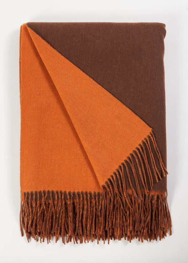 Alashan Cashmere Chocolate and Tangerine Wool / Cashmere Double-Faced Throw