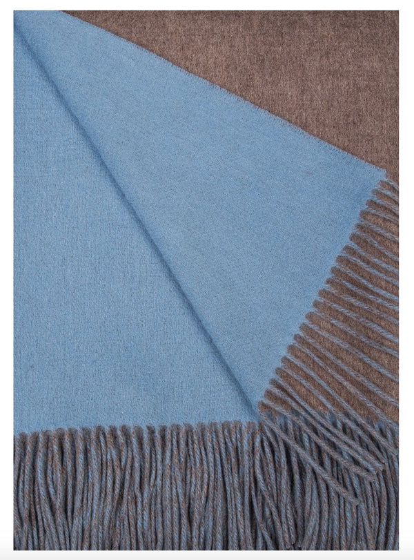 Alashan Cashmere Mushroom and Blue Skies Wool / Cashmere Double-Faced Throw