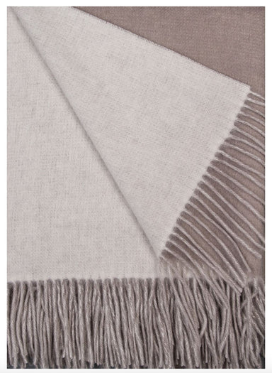 Alashan Cashmere Platinum and White Wool / Cashmere Double-Faced Throw