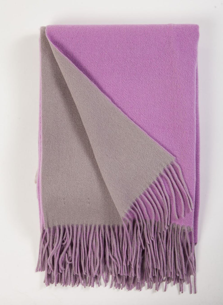Alashan Cashmere Thistle and Platinum Wool / Cashmere Double-Faced Throw