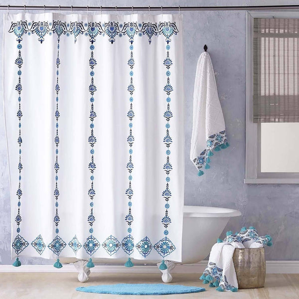Aloka Teal Shower Curtain by John Robshaw