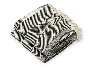 Monhegan Natural & Ebony Herringbone Throw by Brahms Mount