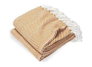 Fig Linens - Monhegan Golden Ochre Herringbone Throw by Brahms Mount