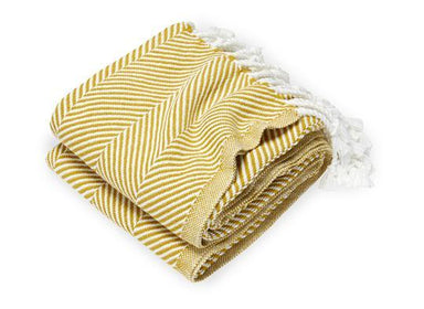 Monhegan Honey Herringbone Throw by Brahms Mount