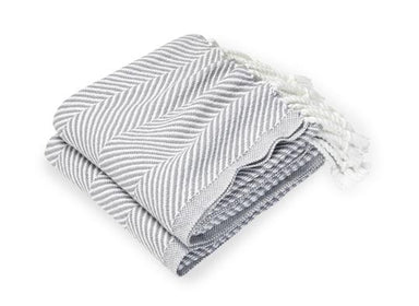 Fig Linens - Monhegan Quicksilver Herringbone Throw by Brahms Mount