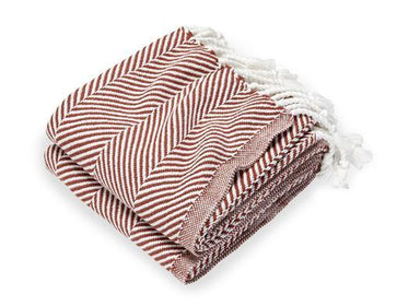 Fig Linens - Monhegan Red Ochre Herringbone Throw by Brahms Mount