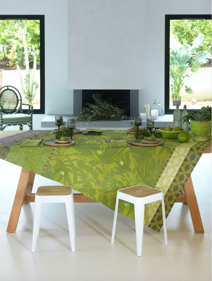 Le Jacquard Français Table Linen Bahia Green Fig Linens Tablecloth Napkin Placemat Runner