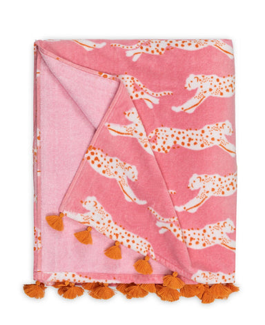 Leaping Leopard Beach Towel in Pink Sugar | Matouk Schumacher