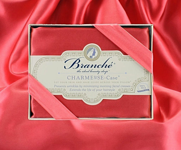 Branché Silk Pillowcase in Coral Red Fig Linens