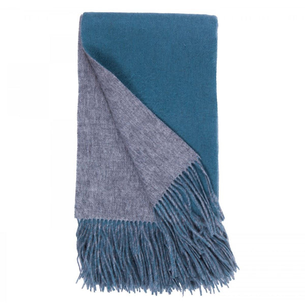 Double-Faced Cashmere Throw - Ash & Evening Sky