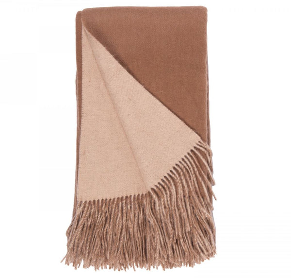 Double-Faced Cashmere Throw - Camel & Apricot