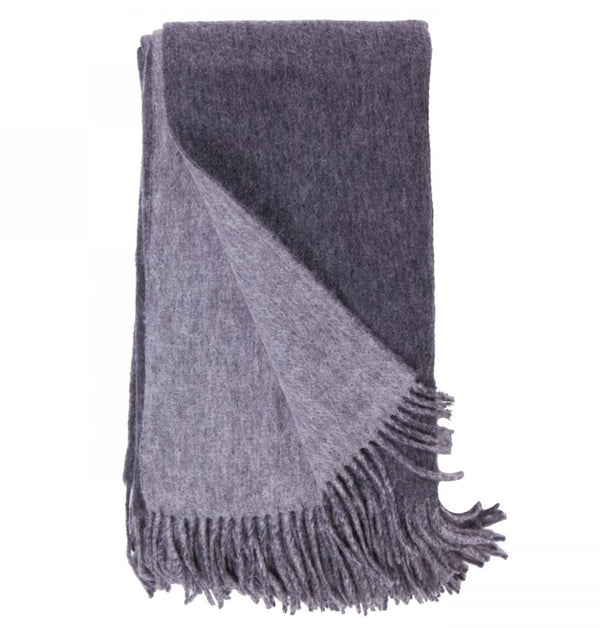 Double-Faced Cashmere Throw - Charcoal & Ash