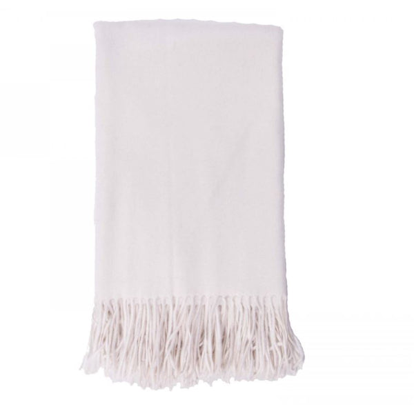 Cashmere Throw in White by Alashan