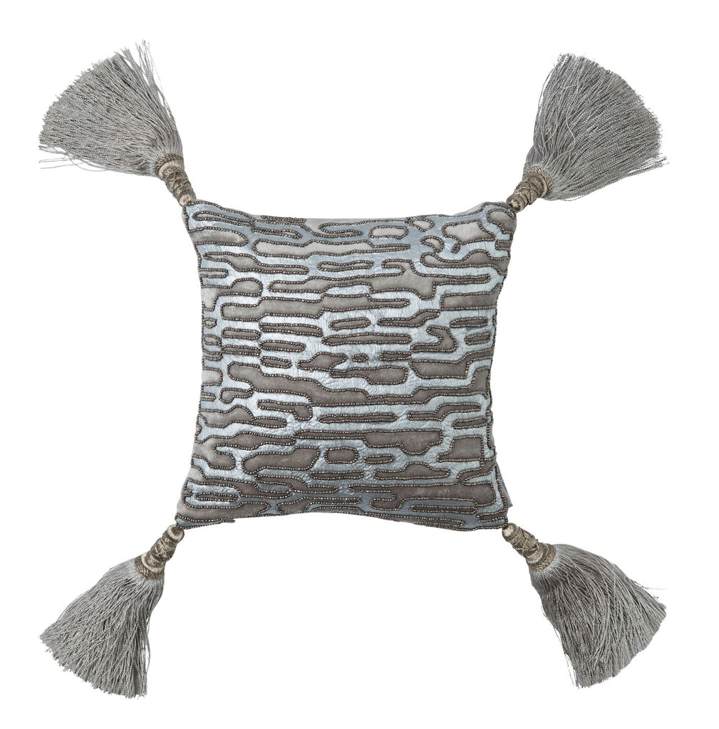 Christian Platinum Velvet with Silver Beads Pillow by Lili Alessandra