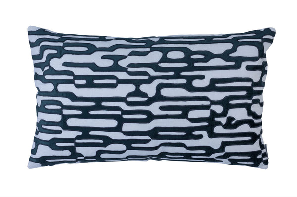 Christian White and Midnight Large Rectangle Pillow by Lili Alessandra