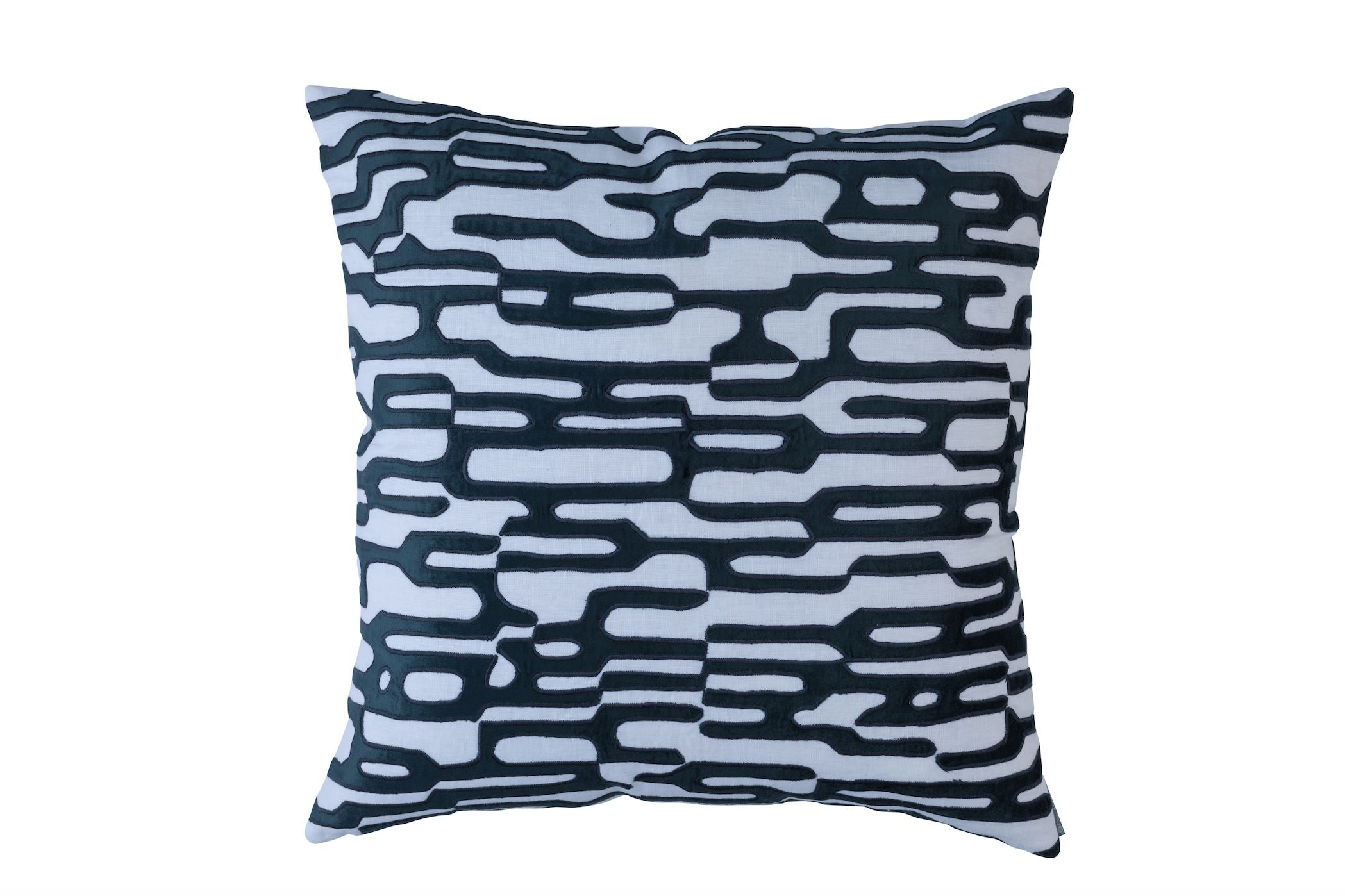 Christian White and Midnight Square Pillow by Lili Alessandra