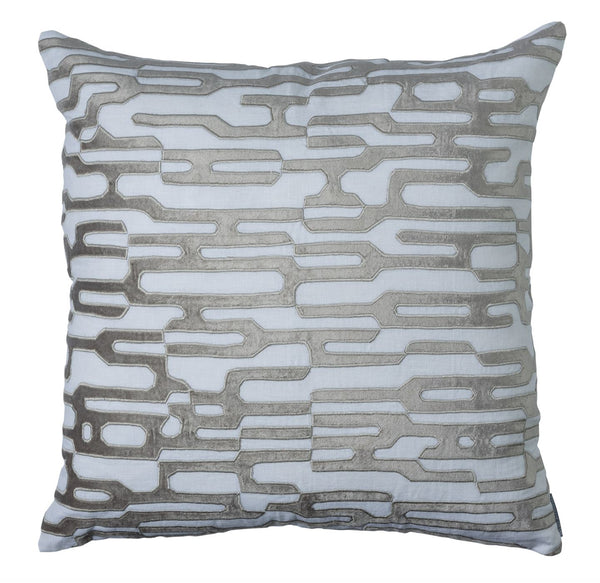 Christian White and Platinum Lili Alessandra Square Pillow 24x24