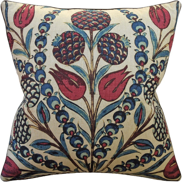 Cornelia Red and Teal Pillow