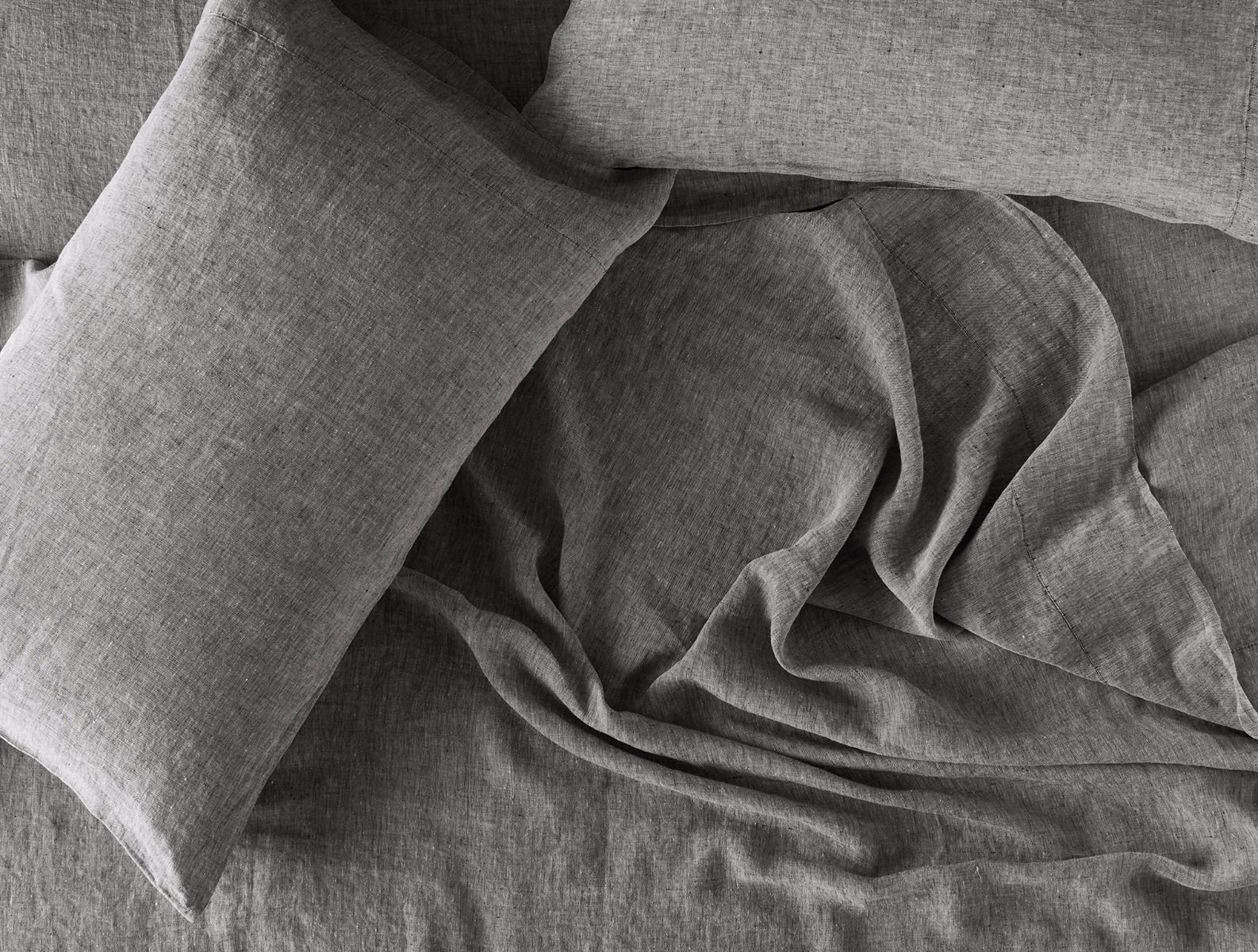 Fig Linens - Coyuchi Organic Linen Chambray Bedding in Charcoal gray