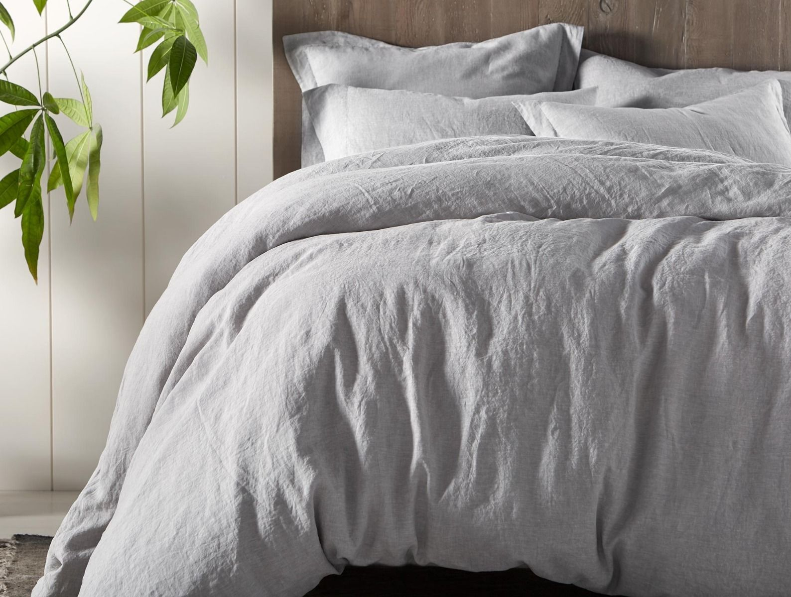 Fig Linens - Coyuchi Organic Linen Chambray Bedding in soft gray