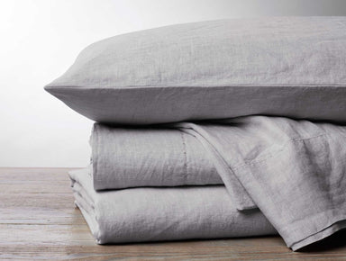 Fig Linens - Coyuchi Organic Linen Chambray Bedding - Fog Gray