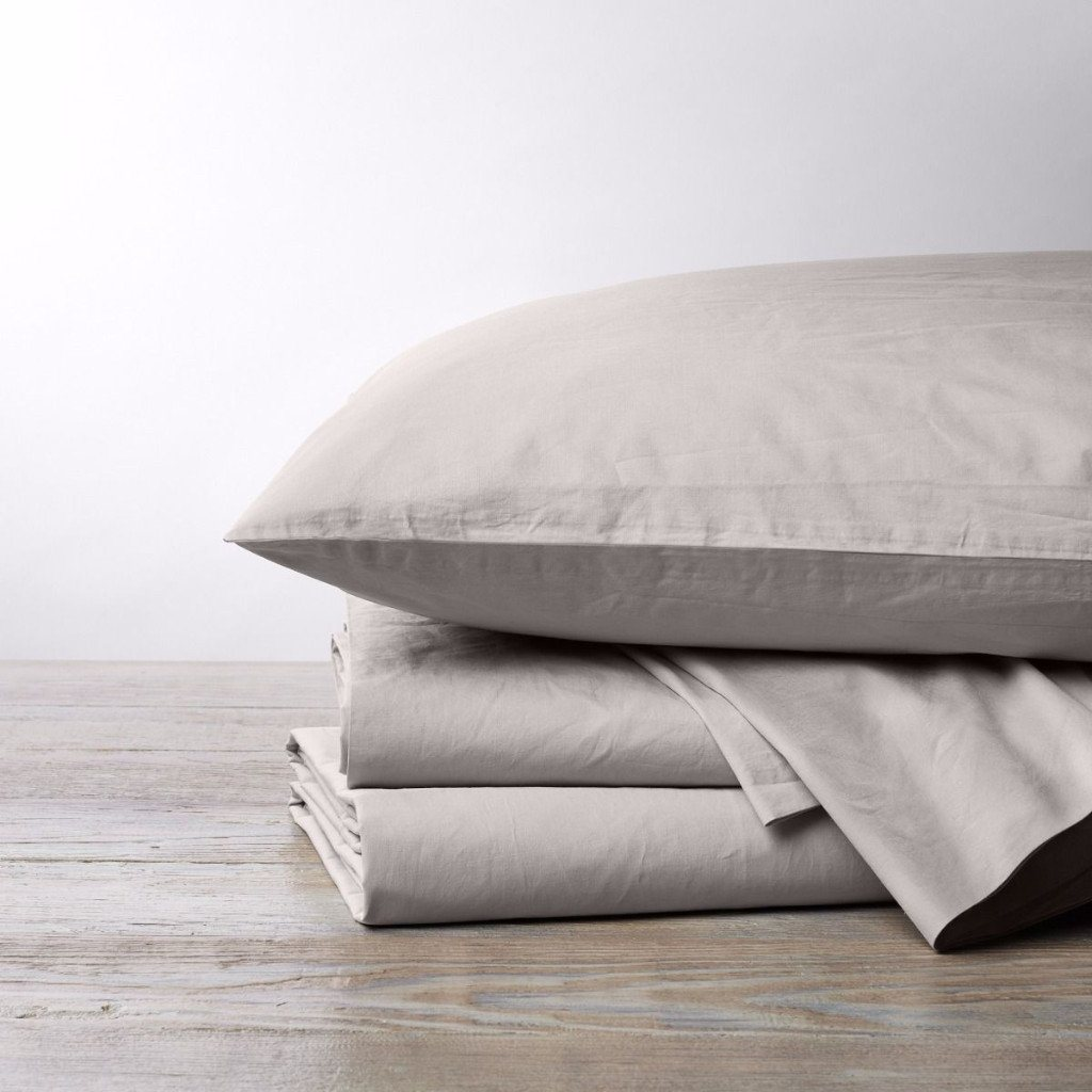 300 TC Organic Percale Sheet Sets by Coyuchi pewter sheets