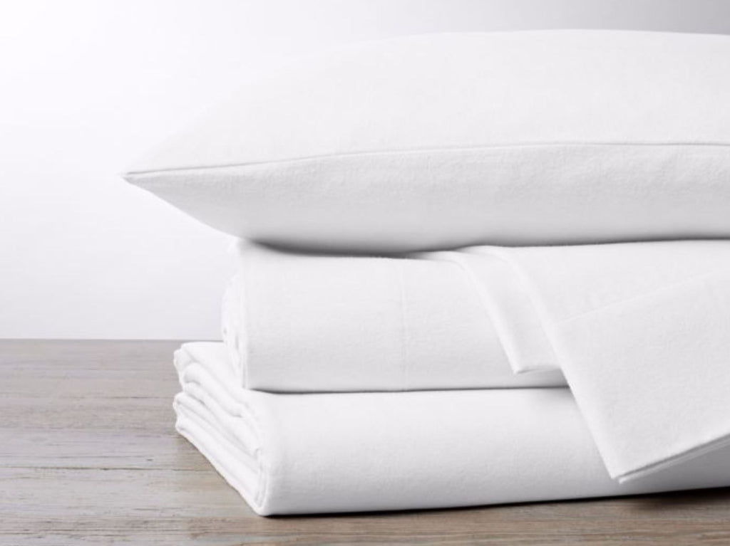 Coyuchi Cloud Brushed Flannel Alpine White Sheets
