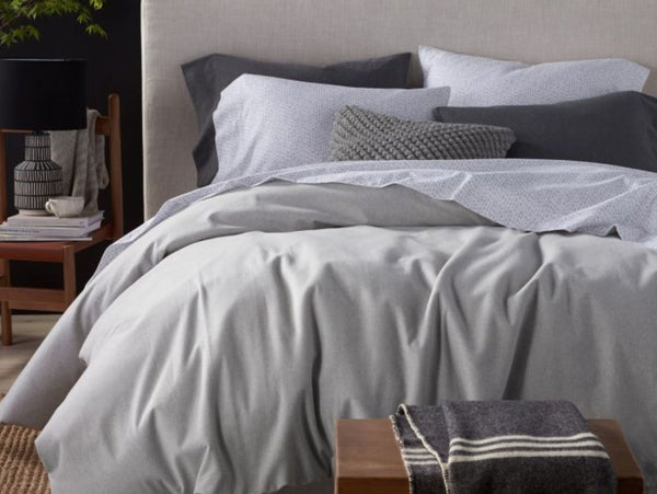Coyuchi Cloud Brushed Flannel Pale Gray Heather Duvets and Shams