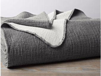 Cozy Cotton Charcoal Organic Blankets by Coyuchi - Fig Linens