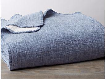 Cozy Cotton Riverstone Blue Organic Blankets by Coyuchi - Fig Linens