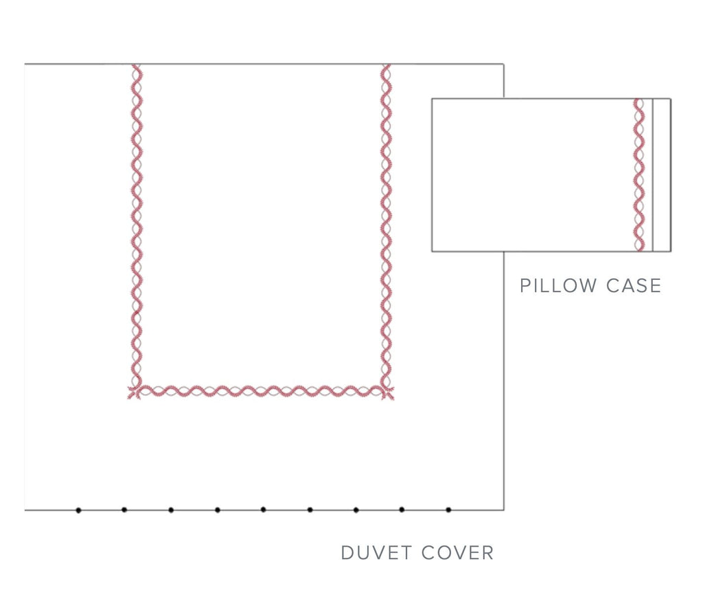 Diana Bedding | Dea Fine Linens - Duvet and Pillowcase Diagram